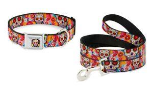 Buckle Down Dog Collar or Leash Thaneeya Sugar Skull Day of Dead - Starburst USA