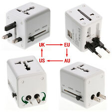 Universal Power Adapter Charger World Travel Us/Au/Uk/Eu Plug&Socket &2 Usb Port