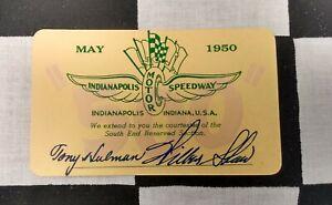 1950 INDY 500 TONY HULMAN WILBUR SHAW COURTESY CARD MARI HULMAN GEORGE ESTATE 1