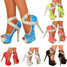 WOMENS PLATFORM HIGH HEEL STUDDED ANKLE STRAPS PEEP TOE LACE PUMPS SHOES 3-10