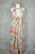 RIVER ISLAND Stunning Glamorous floral metallic halterneck maxi summer dress 14