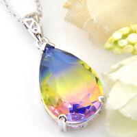 Teardrop Huge Rainbow Mystic Fire Topaz Gemstone Silver Necklace Pendant New