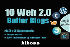 I will do 10 Web 2.0 Buffer Blog with Login, Unique Content, Image and Video