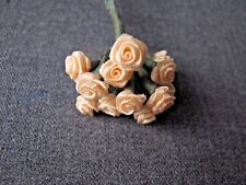 Vintage Creamy Ribbon Flowers Miniature Bouquet For Dolls Craft Making #O