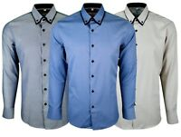 Mens Long Sleeve Double Collar Smart Casual Formal Tailored Fit Shirt Top 406