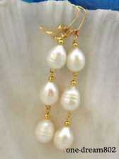 Real 13mm white FW drip pearl dangle earring 14k-20 hook