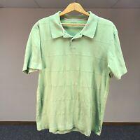 Alfani 1/4 Button  Men's Polo Short Sleeve Green 100% Cotton Shirt Size Large