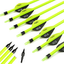 12pcs 30'' Pure Carbon Arrows With 2inch Turkey Feather Archery Hunting Games