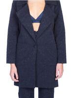 For Love & Lemons Womens Jacquard Coat Straight Navy Blue Size S