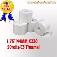 "44mm (1-3/4"") x 220' THERMAL CASH REGISTER PAPER - 1 CASE(50 NEW ROLLS) *FREE SH"