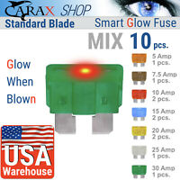 Fuses STANDARD blade smart regular fuse automotive LED Glow Blown ATO ATC MIX 10
