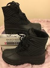 SKECHERS WINDOW SNOW BOOTS WOMENS 49823 BLACK UK3 EUR36 LACE UP DESIGNER RARE