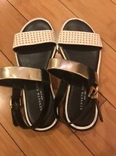 Kenneth Cole NY Nadia 3 Women US 6 M Slingback Sandal White/Gold/Black NEW