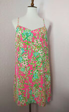 a616c58c7eec Lilly Pulitzer Southern Charm 100% Silk Dusk Dress Pink Green Small  Excellent