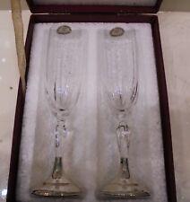 Bicchieri Flute Cristallo Base Argento 800 Spumante Champagne | Silver Glasses