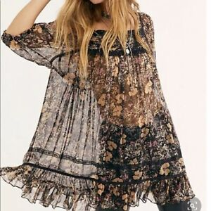 FREE PEOPLE BLACK MORE THAN A FEELING TUNIC BABYDOLL DRESS (SIZE S) RRP £140