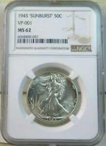 1945 walking Liberty half dollar NGC MS62 *VP-001 'sunburst'* BR
