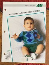 Baby knitting patterns.jumpers.shorts.size 20-22 inch chest.DK yarn.diamond