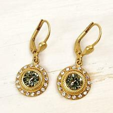 NWT La Vie Parisienne Catherine Popesco Swarovski Crystals Round Drop Earrings