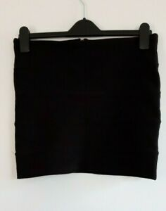 Gorgeous Black Ribbed Stretchy Straight Pencil Mini Skirt - Size 12 - Great!