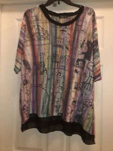 Inoah Womens Large Art To Wear Relaxed Fit Tunic Blouse Multicolor