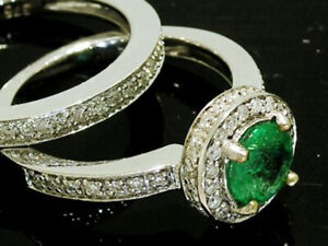 R199 Genuine 9K or 18K Gold Natural Emerald & Diamond Halo Engagement Ring