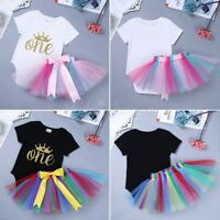 Infant Baby Girl 1st Birthday Outfit Kids Crown Party Tutu Romper Dress Clothes