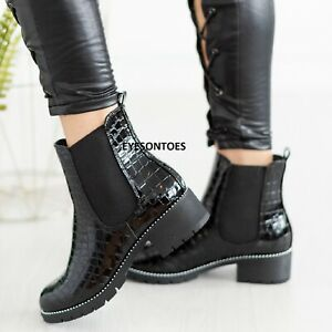 WOMENS BLOCK CHUNKY HEEL LOW SOLE BOOTS LADIES CHELSEA STUDDED ANKLE SHOES SIZE