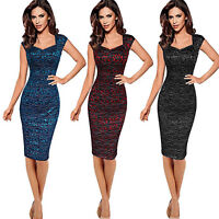 Womens Bodycon Lace Floral Pencil Dress Party Cocktail Evening Formal Midi Dress