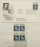 Finland Independence 50th Anniversary First Day issue 4 - 5 Cent Stamp block