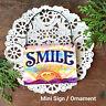 DECO Mini Sign Wood Ornament SMILE Door Hanger Plaque Happy Decor Sun Shine USA