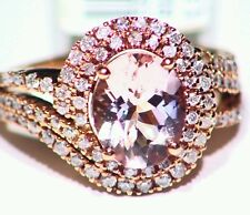 3.13CT 14K Rose Gold Natural Morganite Cut White Diamond Vintage Engagement Ring