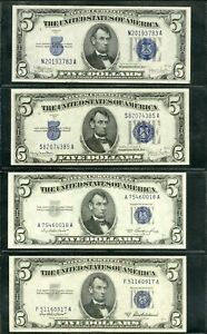 US Paper Money Lot of 4 $5 Silver Certificates ALL Choice CU NO RESERVE!