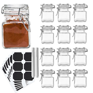 12 x Glass Spice Jars Clip Seal Spice Herbs Storage Preserve Kitchen Containers