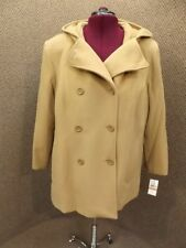 Anne Klein NEW NWT Plus 3X Camel Wool Cashmere Hooded Dbl Breasted Peacoat $280