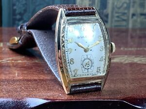 VINTAGE 1949 BULOVA MAN'S WATCH w15J 10AX fancy Bezel & Original Dial KEEPS TIME