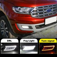 LED Daytime Running Light DRL Turn Signal Fog Kit For Ford Everest 2016-2019