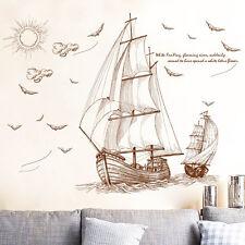 Fashion Pirate Ship Sailing Wall Sticker Removable Vinyl PVC Decal DIY Art Decor