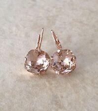 Morganite pink crystal rose gold earrings, Swarovksi cushion cut