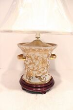 Beautiful Tapestry Pattern Porcelain Ring Cup Pot Lamp with Shade and Finial