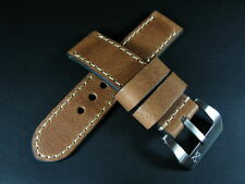 24mm Vintage Brown Cracked Cow Leather Strap Band+Buckle for 44mm Panerai Watch