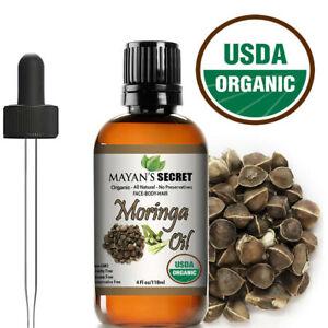 Moringa Oil 100% Pure Virgin  Cold Pressed  l, Anti-Aging, 4 fl.oz. USDA Organic