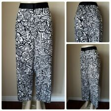 2d3b3121319f1 NWT Lane Bryant Women s Pants White Black Floral Straight Leg Stretch  Cotton 28