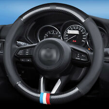 15 inch black carbon fiber PVC leather car steering wheel Glove cover for Mazda