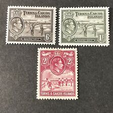 TURKS & CAICOS IS, SCOTT # 85A+86A+87(3), 1938-45 KGV1 DEFINITIVE ISSUE MH