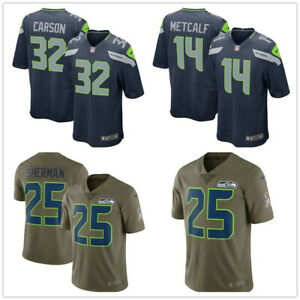 Herren NFL #14 #25 #32 Seattle Seahawks American Fußball Trikot Stitched
