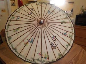 VINTAGE JAPANESE BUTTERFLY PARASOL UMBRELLA BAMBOO RICE PAPER-CARNIVAL PRIZE