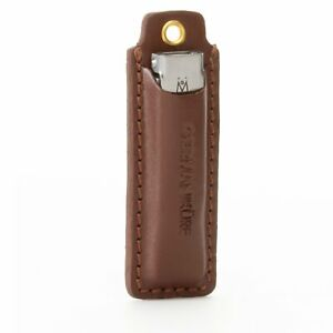 GERMANIKURE Flat Pocket Nail Clipper in Leather Keychain Case, Solingen Germany