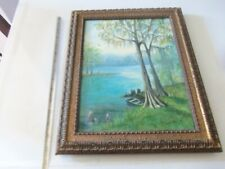 Originial Framed Canvas Painting - Rowboat in the Marshes - Lorene Rucker 1978