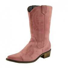 Ladies Cowboy Western Boots Genuine Leather Suede Wide Calf UK3-UK8 Sizes